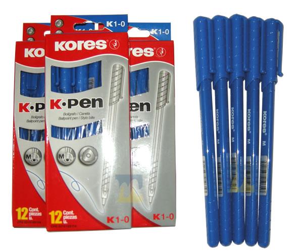 Bolífgrafo punta media Kores Azul en MegaOffice.com.ve