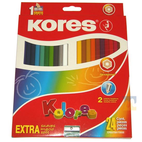 Creyones de Madera Kores 24 Colores en MegaOffice.com.ve